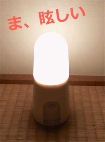『IRIS OHYAMA 人感センサー付LED乾電池式センサーライト スタンドタイプ』点灯中