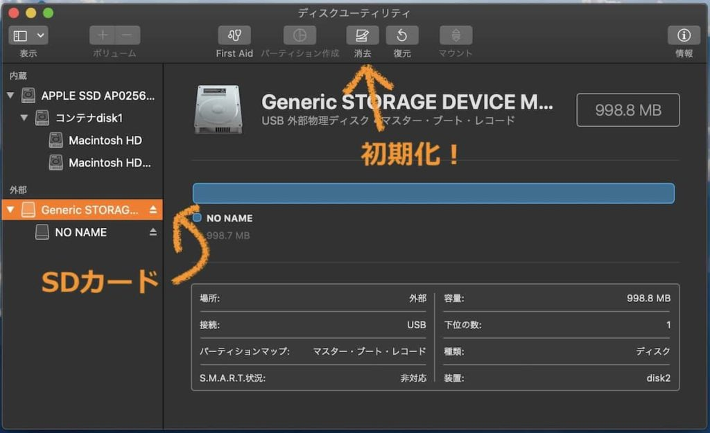 MacでSDカードを初期化