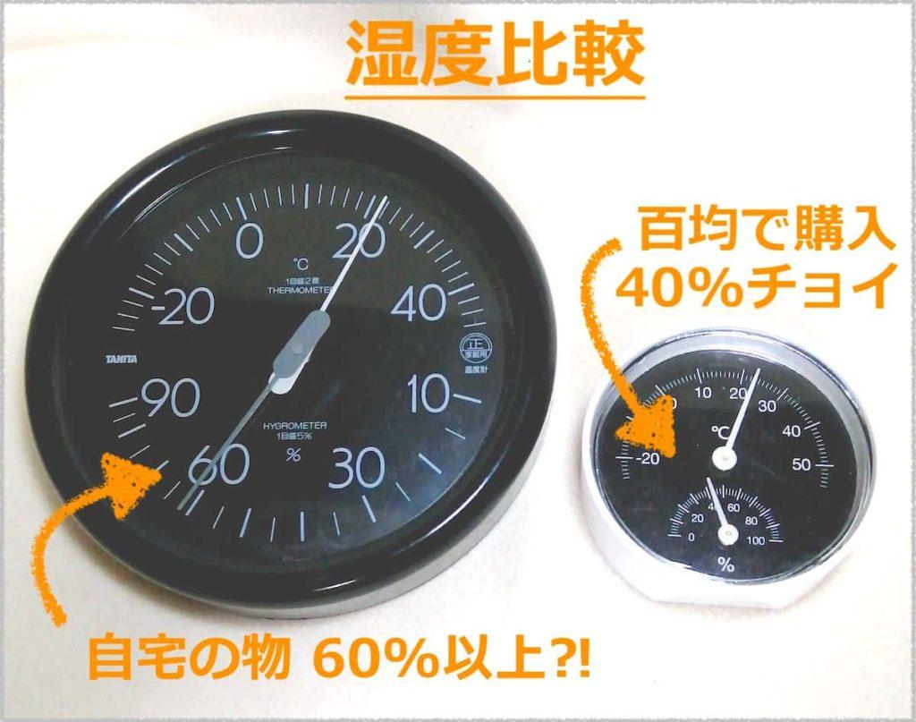 2つの温湿度計を比較