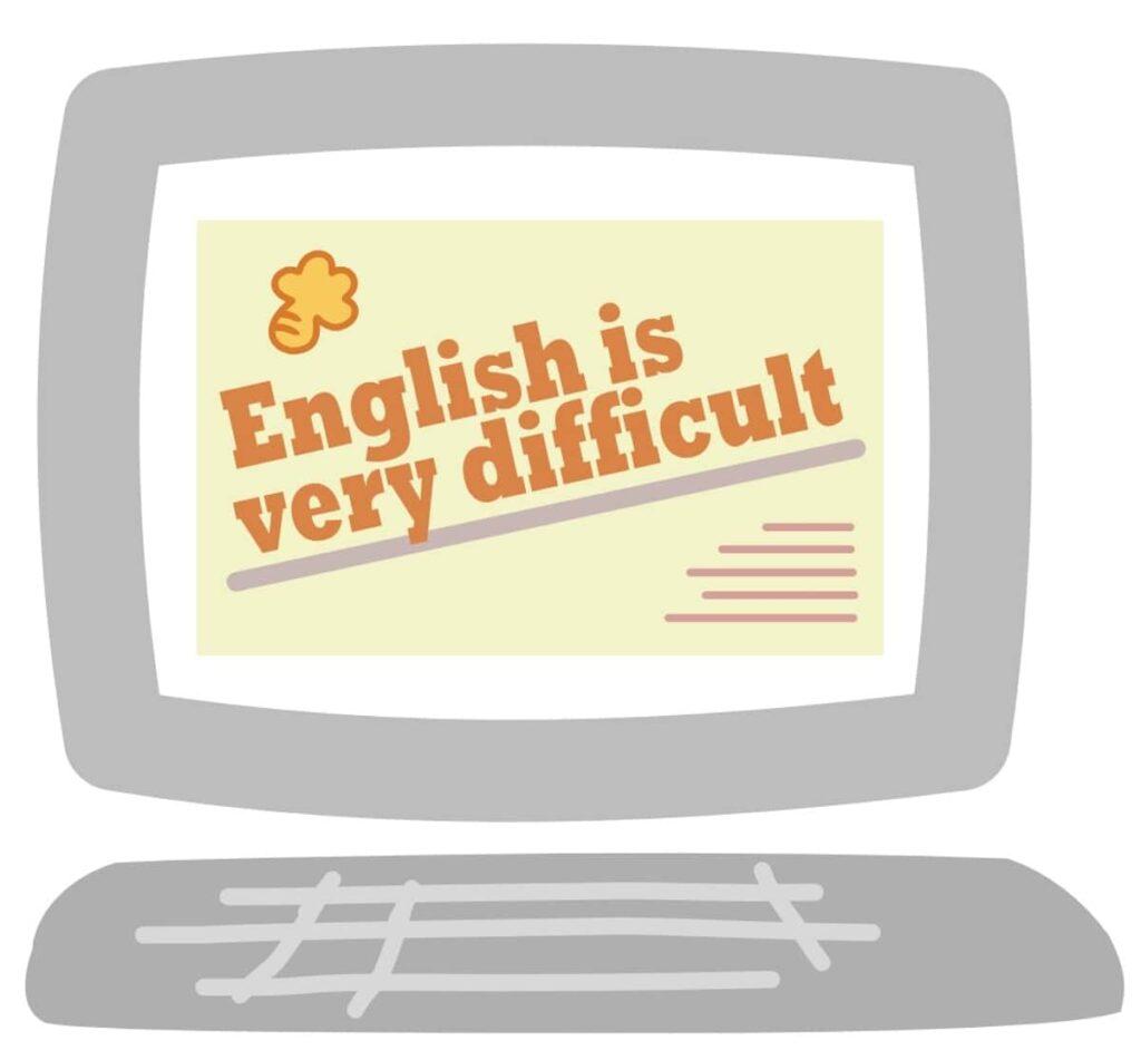 パソコンの画像内の英語